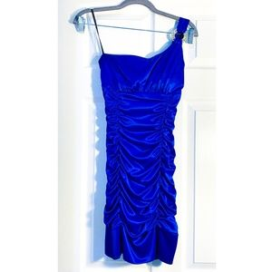 ROYAL BLUE ONE SHOULDER HOMECOMING DRESS-SMALL